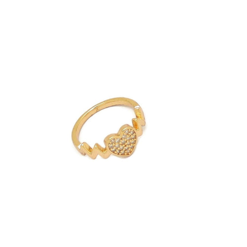 Heart Eternity Ring, White, Gold Plating