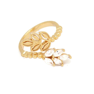 Leaf Shape Cuff Ring, White, Gold Plating