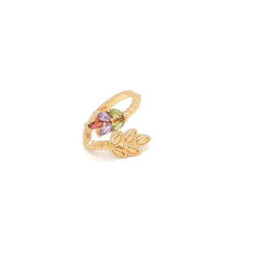 Leaf Shape Cuff Ring, Multi-Colored, Gold Plating