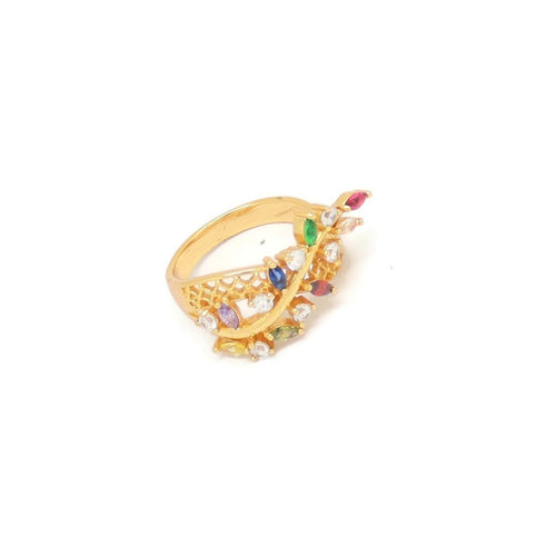 Branch Leaf Eternity Ring, Multi-Colored, Gold Plating