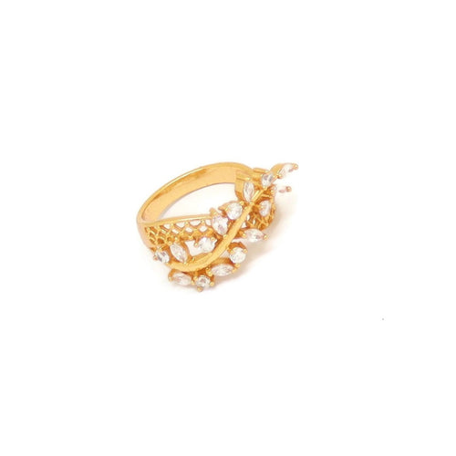 Branch Leaf Eternity Ring, White, Gold Plating