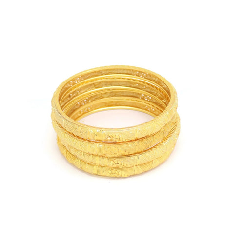 Four Piece Bangle Set Bracelet, Yellow, Gold Plating