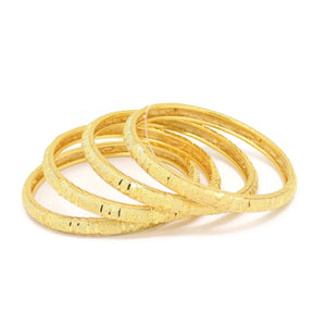 Twin Diamond Four-Piece Bangle Bracelet, Yellow, Gold Plating