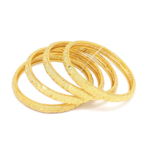 Butterfly Four-Piece Bangle Bracelet, Yellow, Gold Plating
