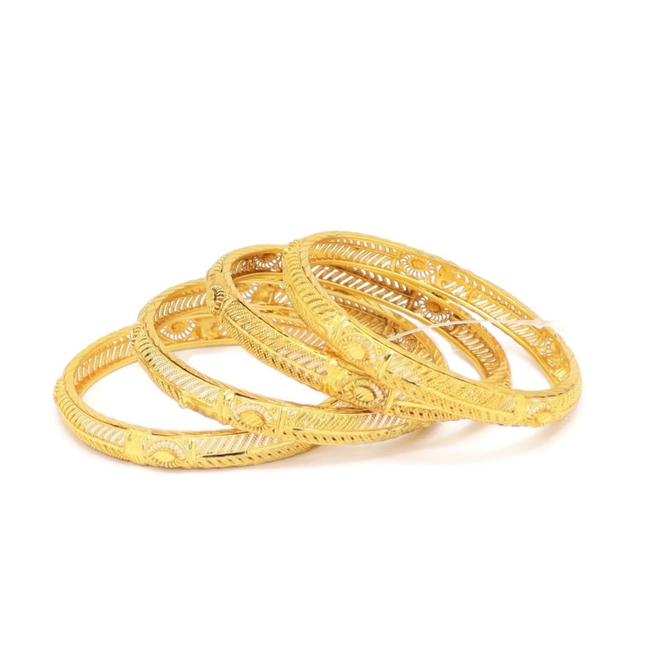 Evil-Eye Protection Four-Piece Bangle Bracelet, White, Gold Plating