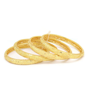 Flower Four-Piece Bangle Bracelet, Yellow, Gold Plating