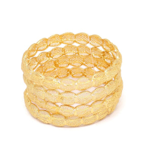 Star Filigree Four-Piece Bangle Bracelet, Yellow, Gold Plating