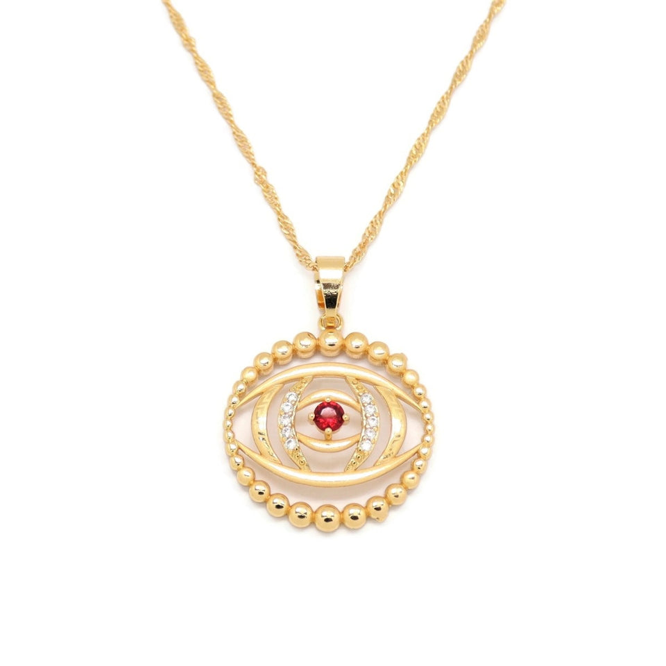 Ruby Evil-Eye Protection Pendant Necklace, Multi-Colored, Gold Plating