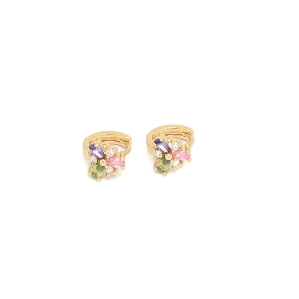 Flower Shape Crystal Huggie Earring, Multi-Colored, Gold Plating