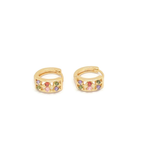 Six Round Shape Crystal Huggie Earring, Multi-Colored, Gold Plating