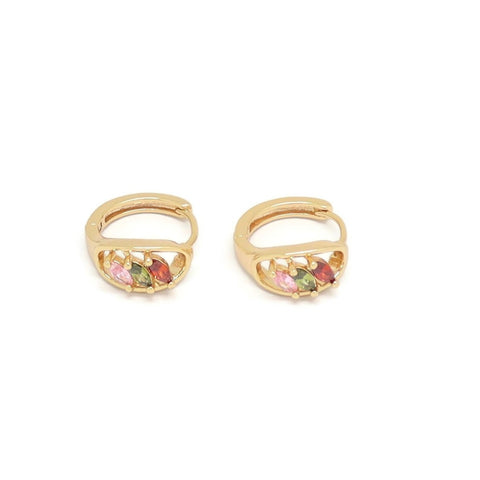 Three Ellipse Shape Crystal Huggie Earring, Multi-Colored, Gold Plating
