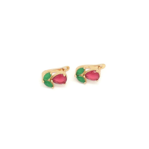 Ruby & Emerald English Lock Earring, Multi-Colored, Gold Plating