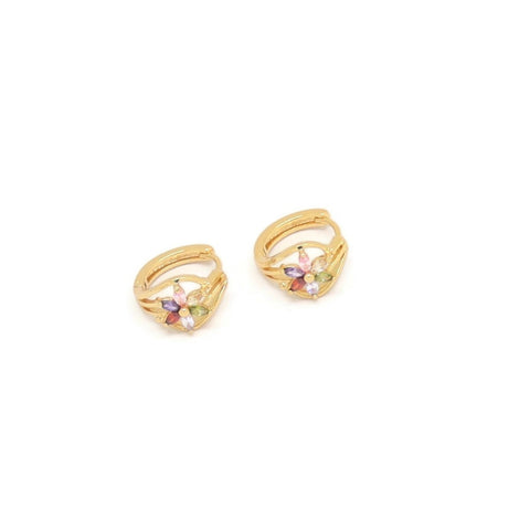 Six Petal Flower Huggie Earring, Multi-Colored, Gold Plating