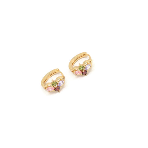 Oval & Diamond Shape Huggie Earring, Multi-Colored, Gold Plating