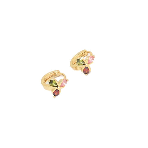 Three Petal Flower Huggie Earring, Multi-Colored, Gold Plating