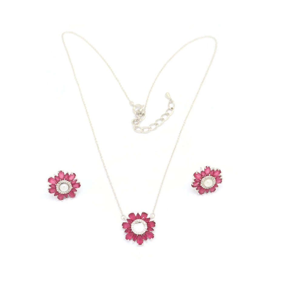 Daisy Flower Necklace & Earring Set, Pink, Silver Plating