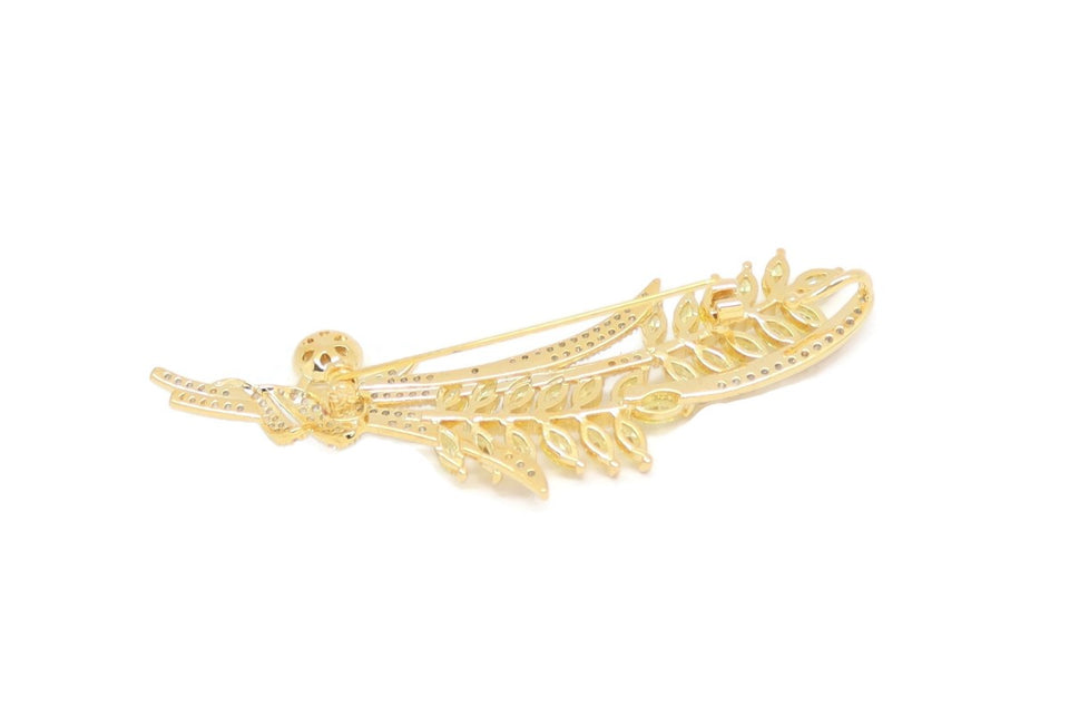 Pearl Olive Branch Leaf Brooch Pin, White, Gold Plating