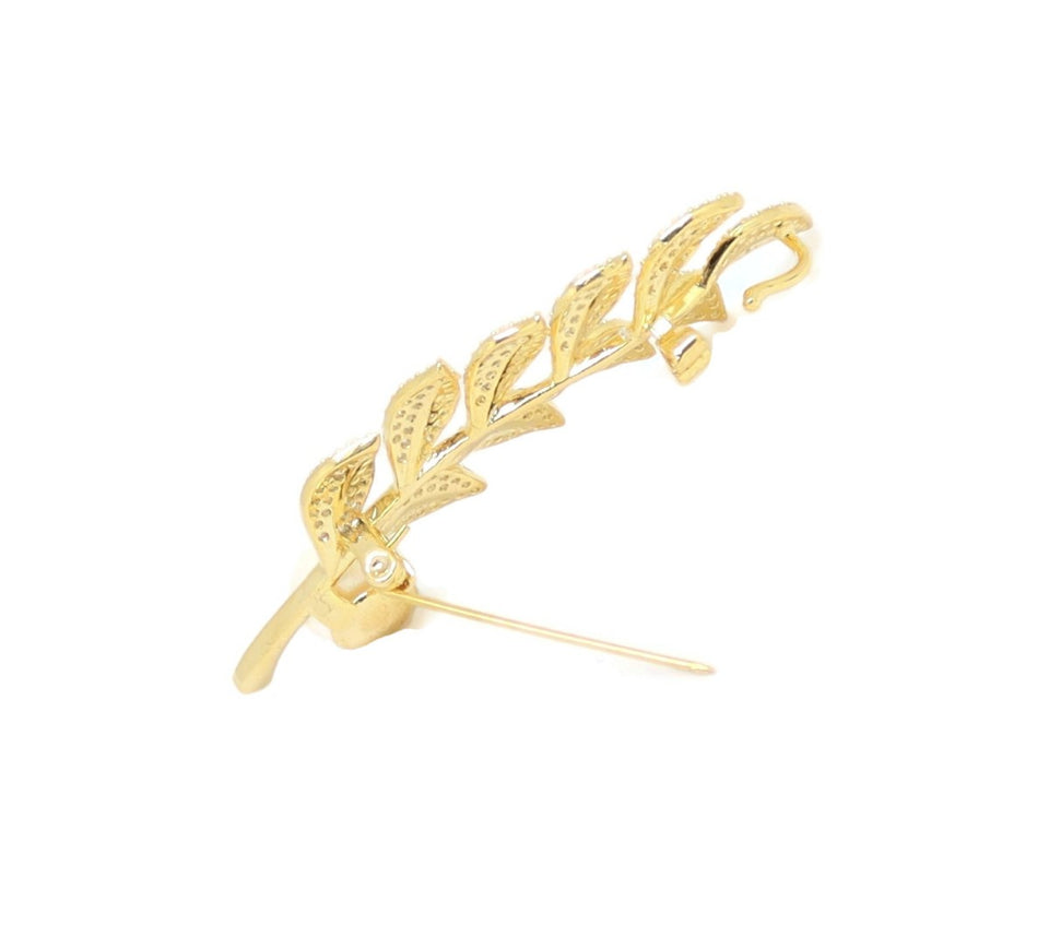 Pearl Crystal Branch Leaf Brooch Pin, White, Gold Plating