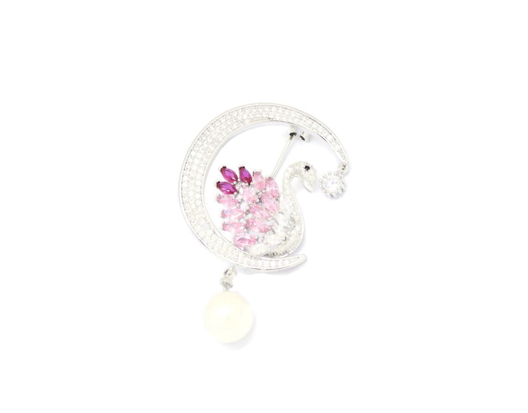Pearl Crystal Swan Brooch Pin, Multi-Colored, Silver Plating