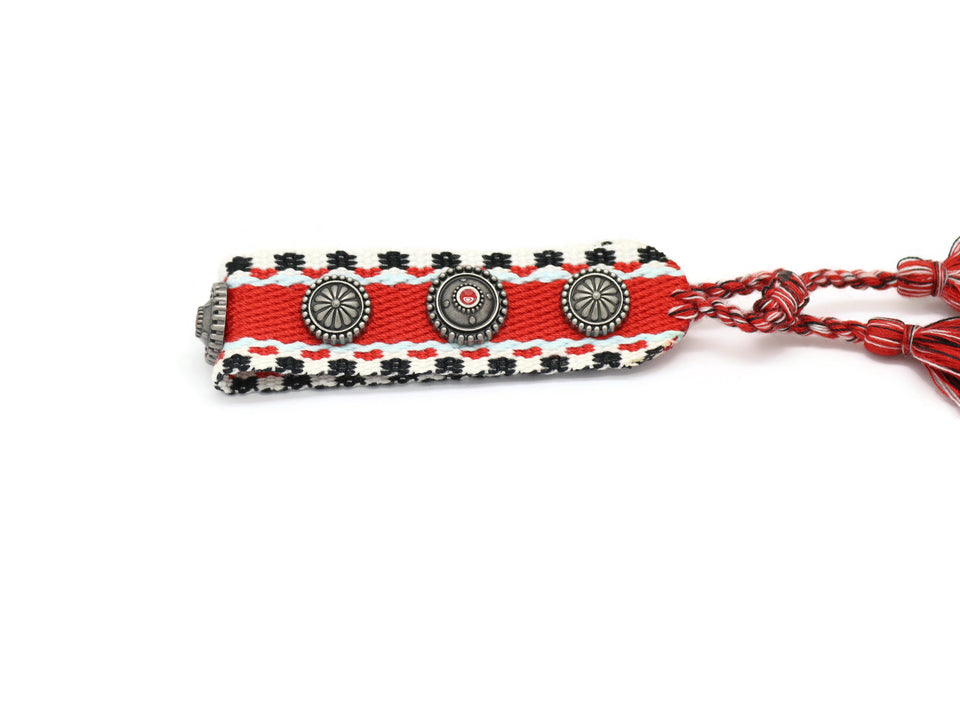 Straight Pattern Ruby Handmade Pull Cord Friendship Bracelet Red