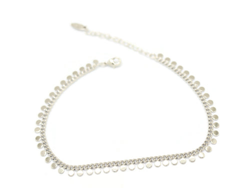 Round Pendant Chain Anklet, White, Silver Plating