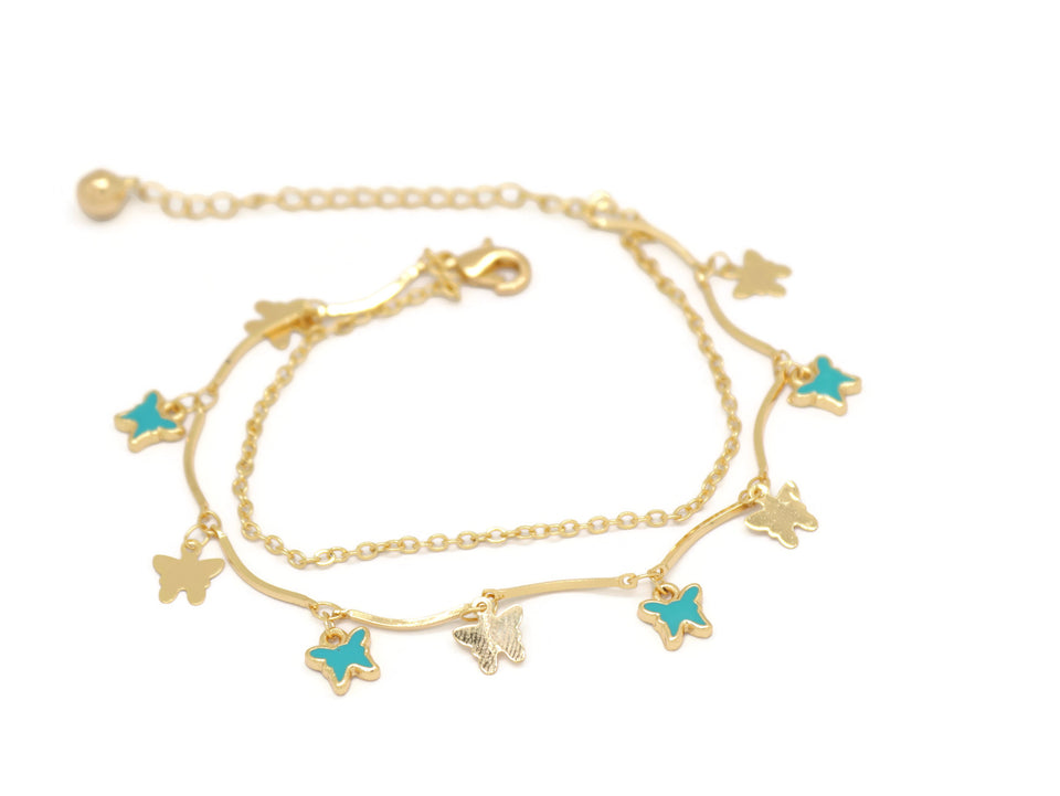 Butterfly Double Chain Anklet, Turquoise, Gold Plating