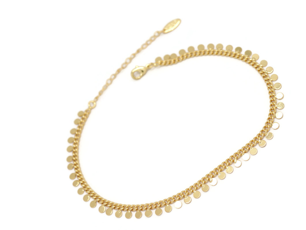 Round Pendant Chain Anklet, Yellow, Gold Plating