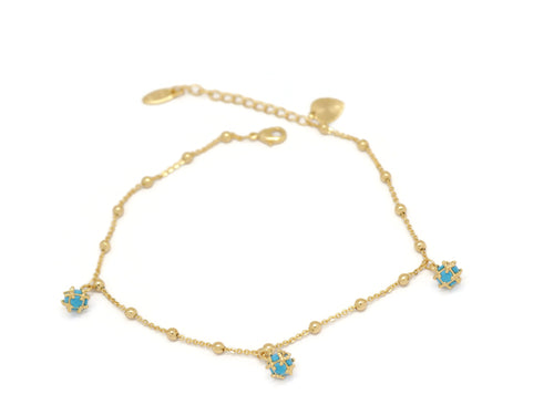 Stylish Cube Pendant Beaded Chain Anklet, Blue, Gold Plating