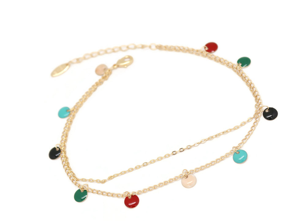 Round Pendant Double Chain Anklet, Multi-Colored, Gold Plating