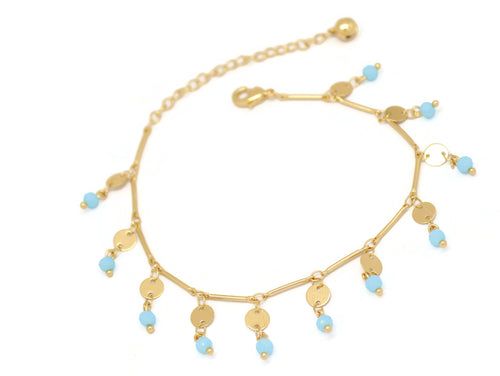 Filigree Round Beaded Chain Anklet, Blue, Gold Plating