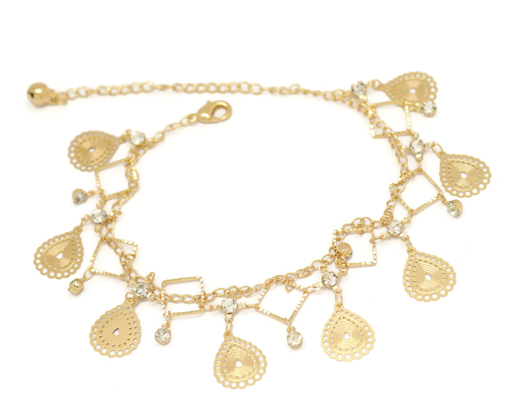 Filigree Teardrop Diamond Double Chain Anklet, White, Gold Plating