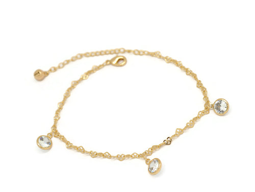 Round Crystal Heart Chain Anklet, White, Gold Plating