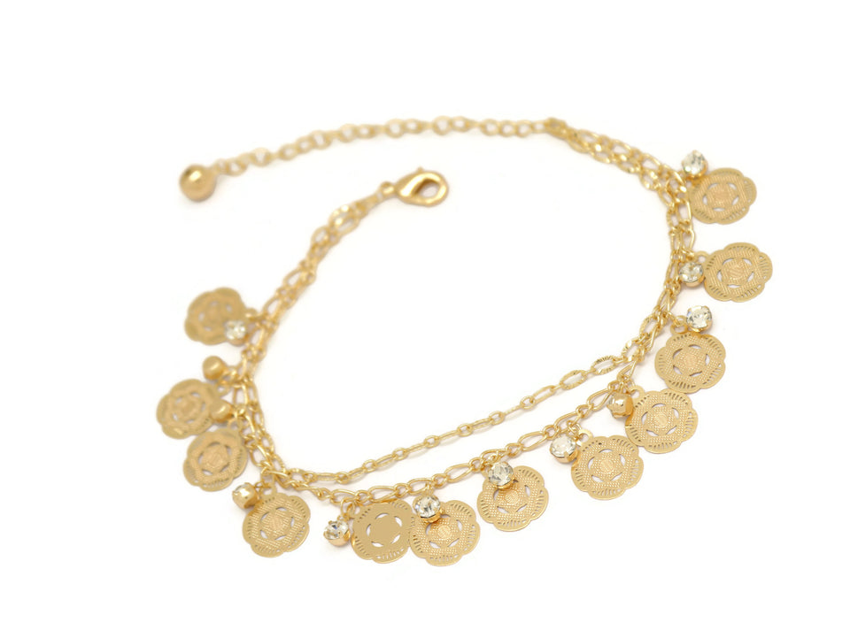 Five Petal Flower Crystal Double Chain Anklet, White, Gold Plating