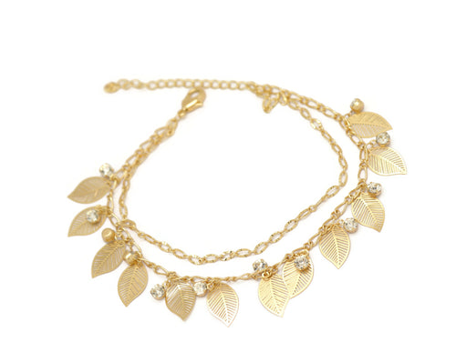 Leaf Crystal Double Chain Anklet, White, Gold Plating
