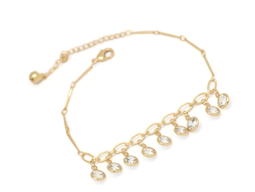 Nine Round Crystal Chain Anklet, White, Gold Plating