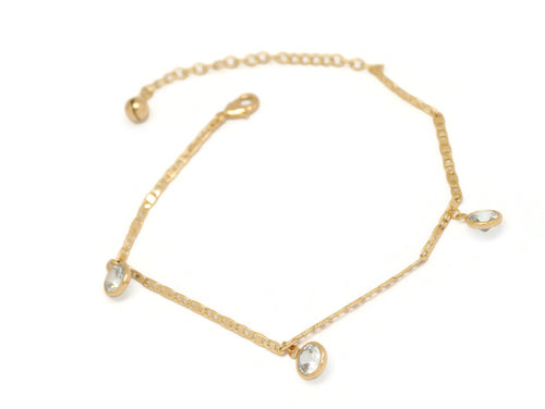 Round Crystal Mariner Chain Anklet, White, Gold Plating