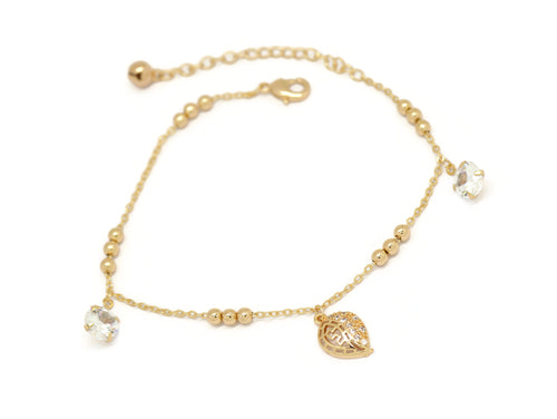 Leaf Crystal Beaded Chain Anklet, White, Gold Plating