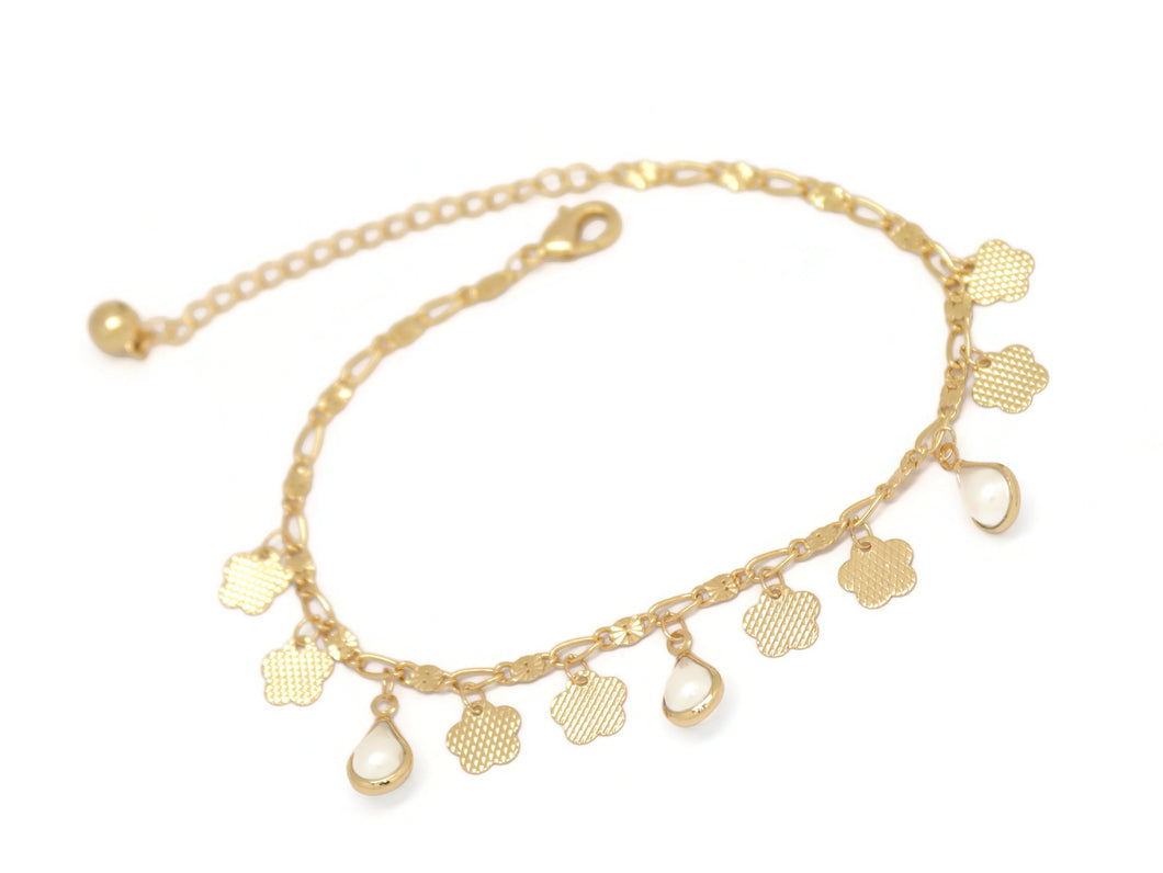 Flower Teardrop Opal Chain Anklet, White, Gold Plating
