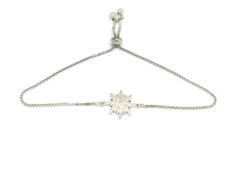 Winter Snowflake Slider Bracelet, White, Silver Plating
