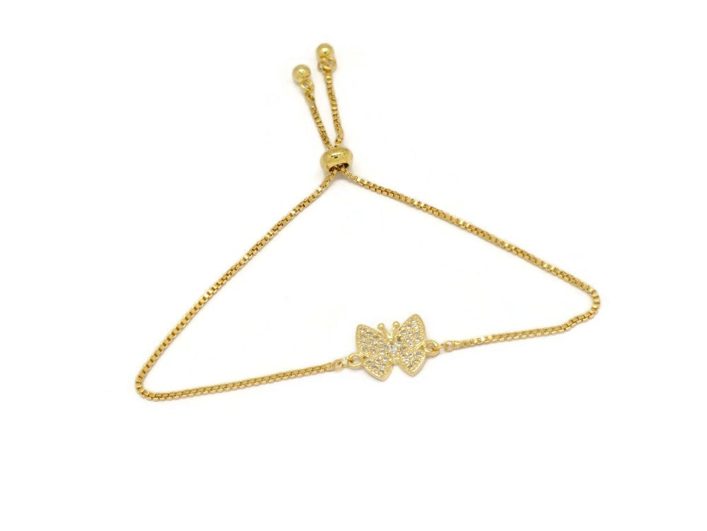 Flying Butterfly Slider Bracelet, White, Gold Plating