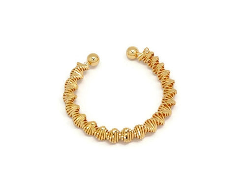 Twisted Hollow Oval Cuff Bracelet, Yellow, Gold Plating