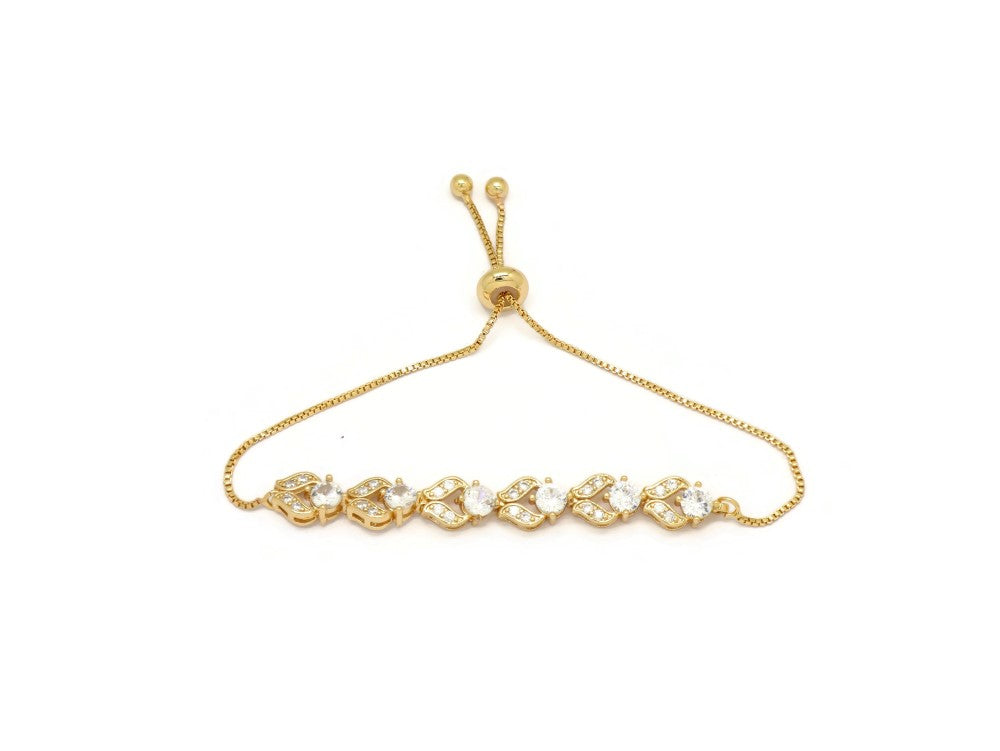 U Clip Crystal Slider Bracelet, White, Gold Plating