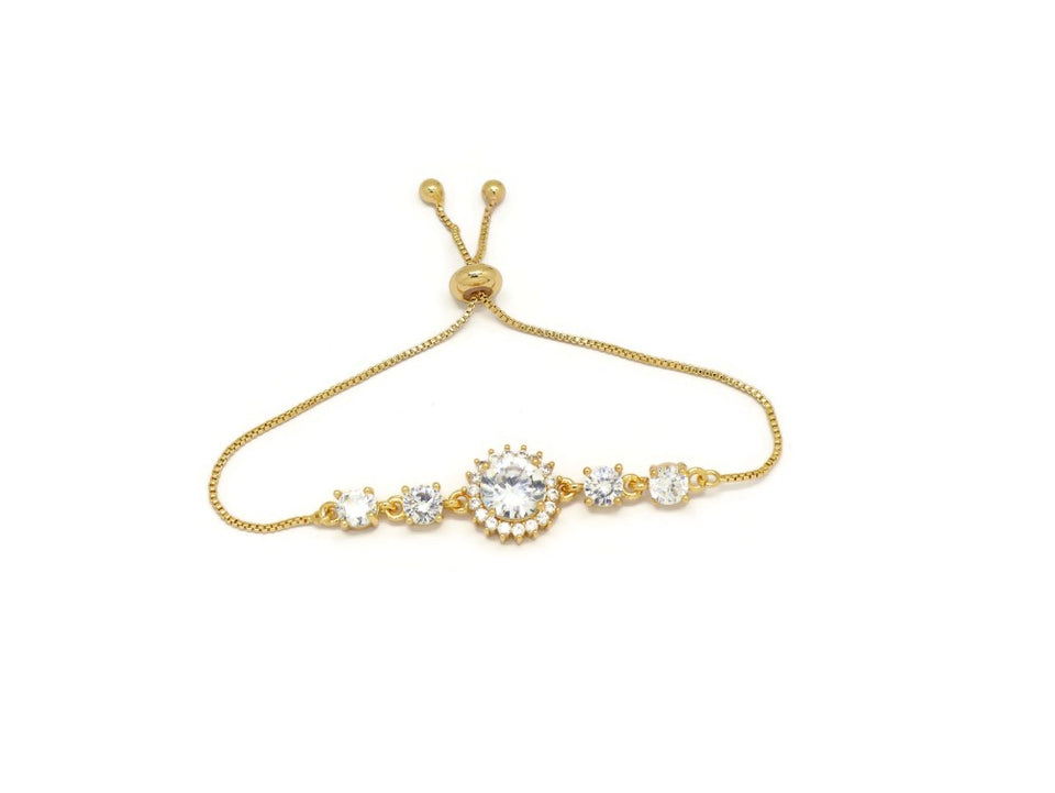 Elegant Round CZ Crystal Slider Bracelet, White, Gold Plating