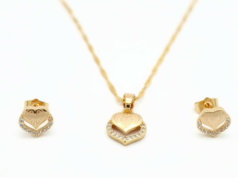 18kt Rose Gold Plated Laser-Cut Heart Pendant Set - Jawaherat