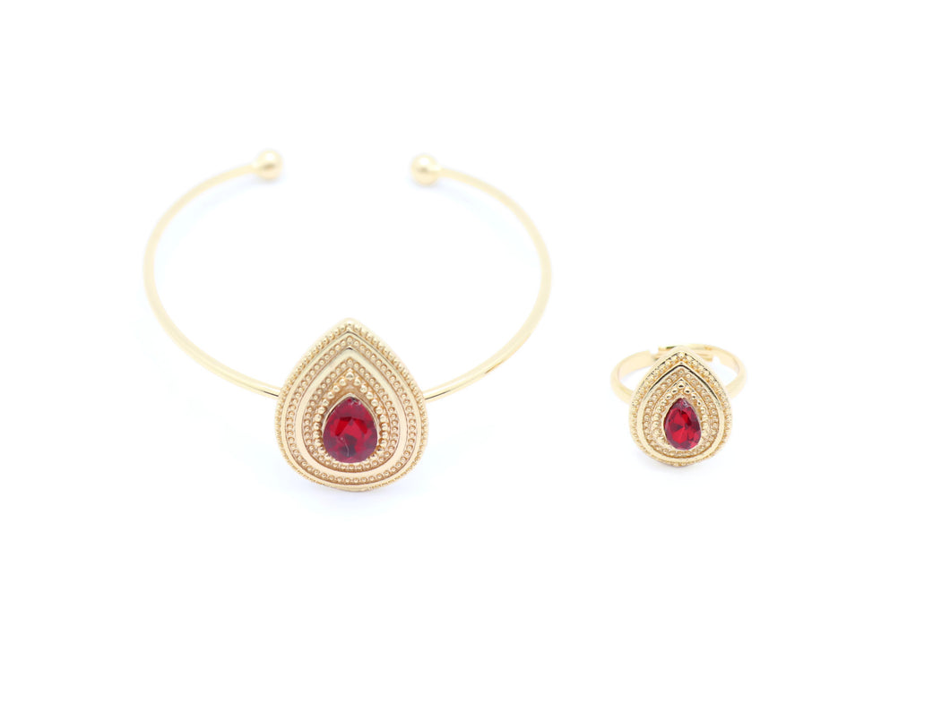 18kt Rose Gold Plated Ruby Tear Drop Bracelet - Jawaherat
