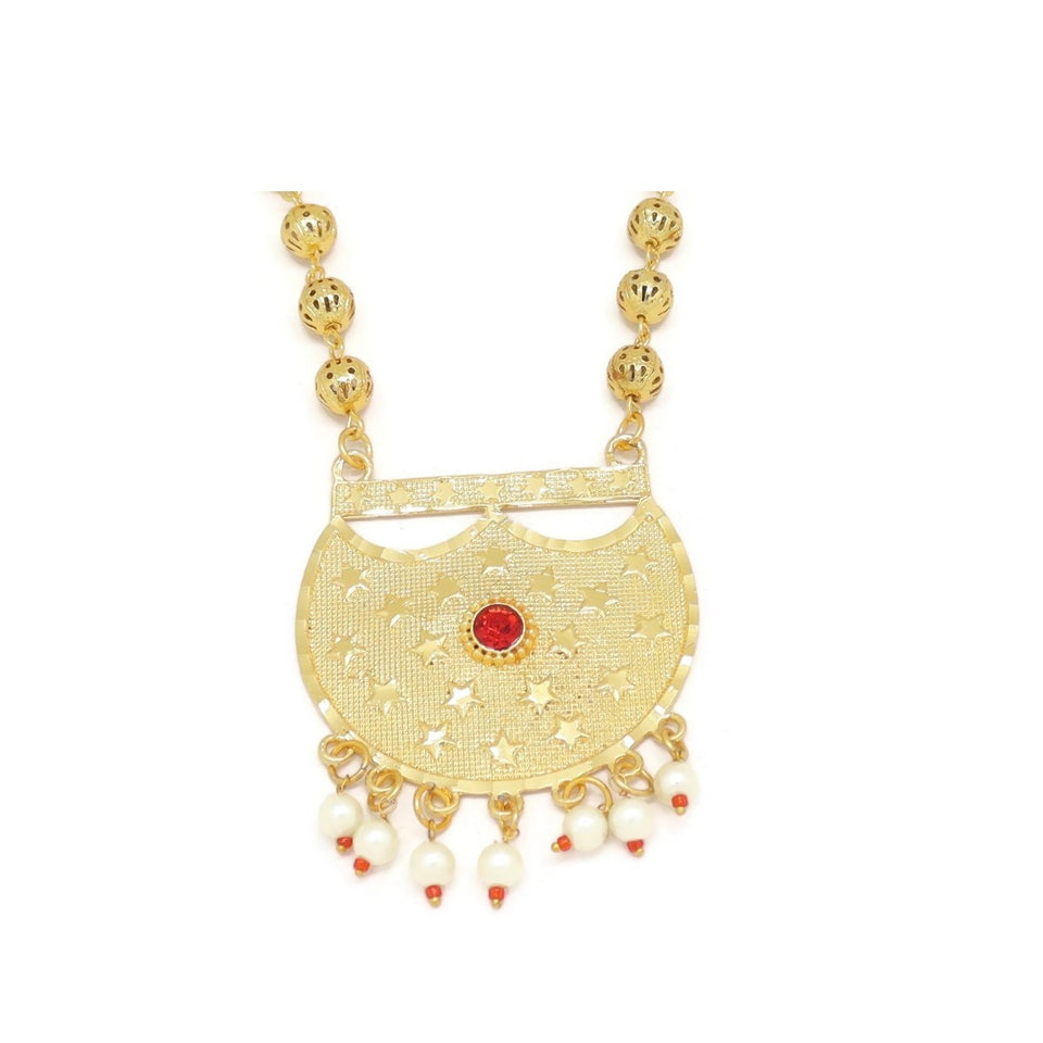 Crescent Moon Star Engraved Hilal Necklace & Earring Set, Red, Gold Plating