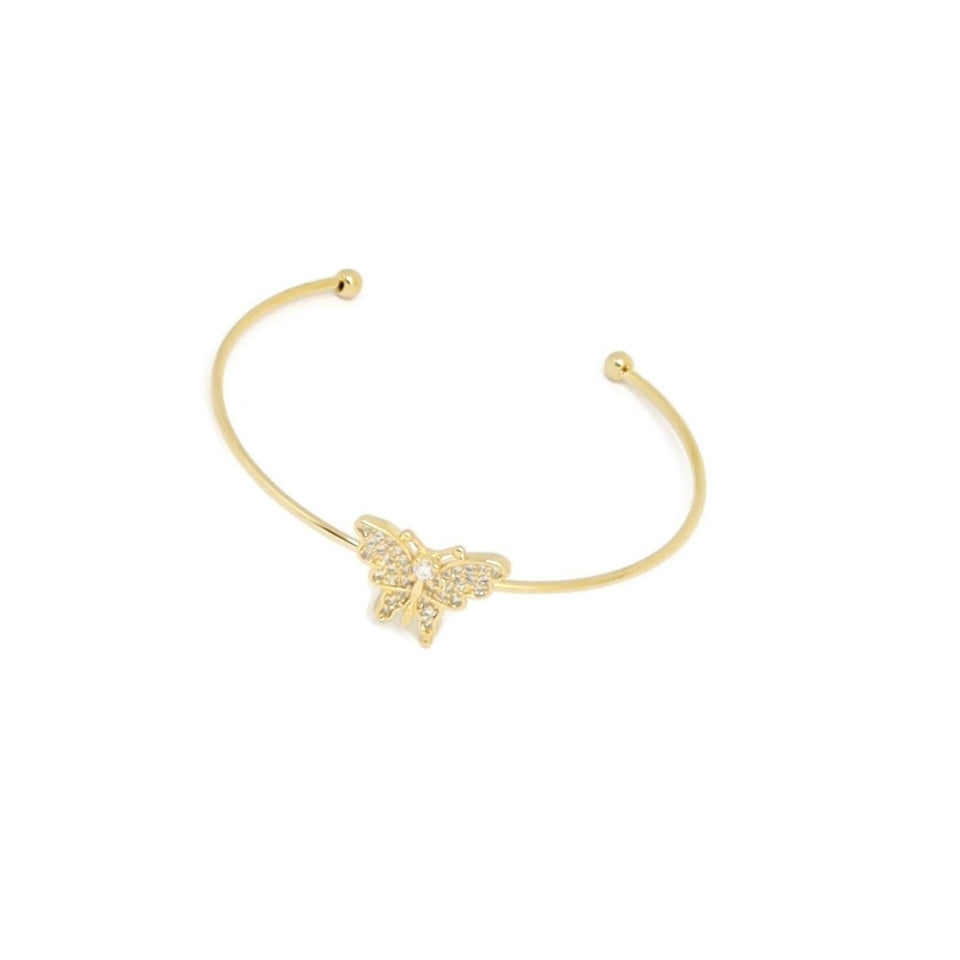Butterfly Cuff Bracelet & Ring Set, White, Gold Plating