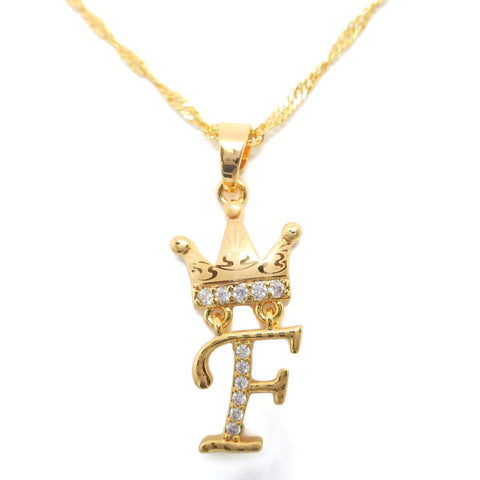 18Kt Gold Plated Laser-Cut Crown Alphabet Letter Pendant - Jawaherat