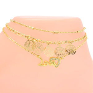 Women's Triple Roses and Heart anklet Chain Design - Jawaherat