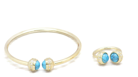 18 kt gold women's fashion bangle firoza color stone